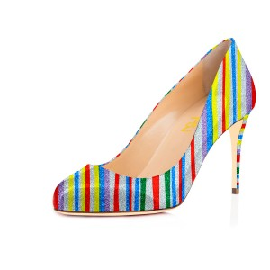 Rainbow Stiletto Heels Colorful Stripes Round Toe Pumps