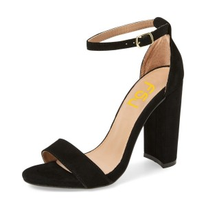 Black Ankle Strap Sandals Block Heel Suede Office Heels