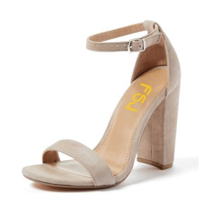 Women's Beige Chunky Heels Open Toe Ankle Strap Sandals