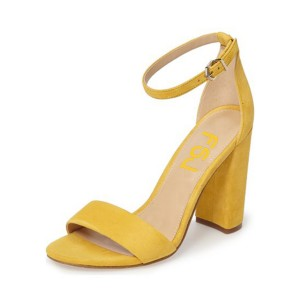 Women's Yellow Open Toe Chunky Heel Ankle Strap Sandals