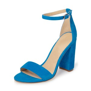 Women's Blue Open Toe Chunky Heels Ankle Strap  Sandals
