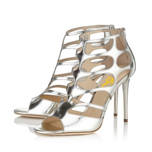 Silver Wedding Shoes Metallic Heels Peep Toe Cage Sandals by FSJ