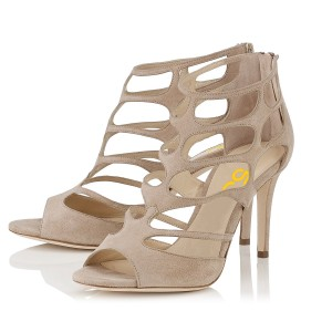 Women's Khaki Stiletto Heels Hollow-out Elegant Formal Summer Sandals