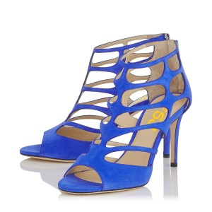 Women's Blue Hollow-out Peep Toe Stiletto Heels Formal Shoes
