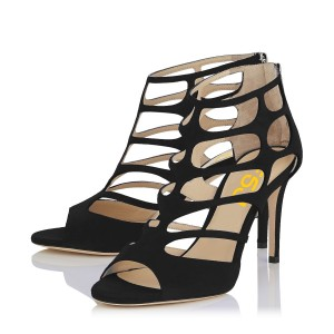 Women's Black Suede Peep Toe Hollow-out Stiletto Heels Sandals