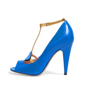 Women's Blue Embroidery Formal Cone Heel T-Strap Shoes