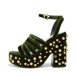Women's Green and Black Rivets Chunky Heels Ankle Strap Sandals