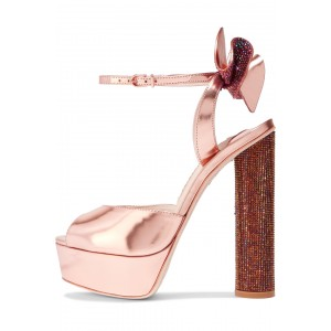 Pink Wedding Heels Bow Sequined Block Heel Sandals for Bridesmaid