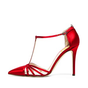 Red Satin T Strap Sandals Stiletto Heels Closed Toe Sandals