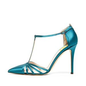 Women's Blue Pointy Toe Formal Pencil Heel Pumps T-Strap Sandals