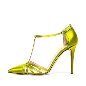 Lime T Strap Sandals Satin Stiletto Heels Pointy Toe Shoes