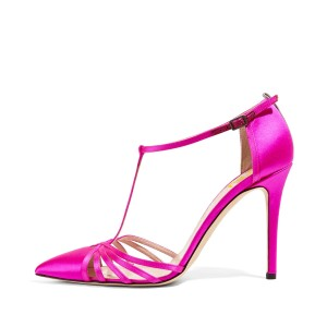 Hot Pink T Strap Sandals Satin Closed Toe Stiletto Heels