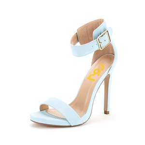 On Sale Light Blue Commuting  Stiletto Heel Ankle Strap Sandals