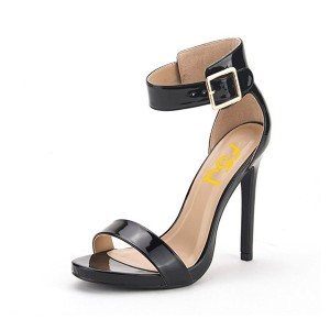 Black Ankle Strap Sandals Open Toe Patent Leather Dressy Office Heels