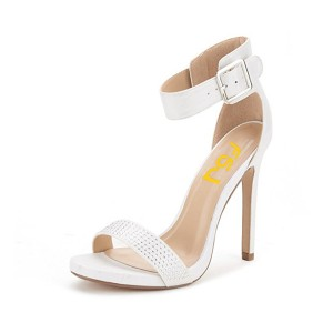 Women's White Rhibestone Ankle Strap Stiletto Commuting Heel Sandals