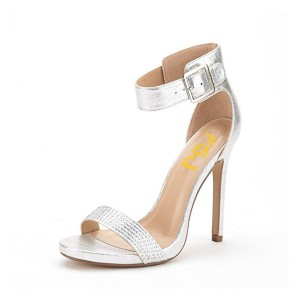 Silver Ankle Strap Sandals Rhinestone Stiletto Heel Shoes