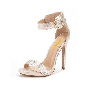 Champagne Ankle Strap Sandals Stiletto Heel Dress Shoes for Women