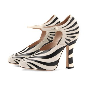 Women's Black&White Stripes Mary Jane Vintage Heels