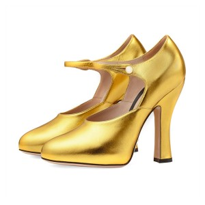 Women's Golden Leather Mary Jane Vintage Heels