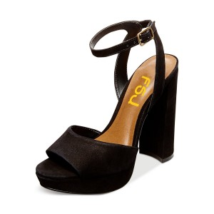 Black Ankle Strap Sandals Suede Open Toe Block Heel Sandals