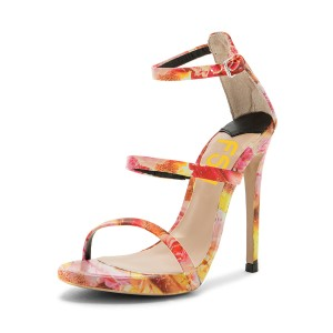 Floral Heels Stiletto Heel Sandals for Women