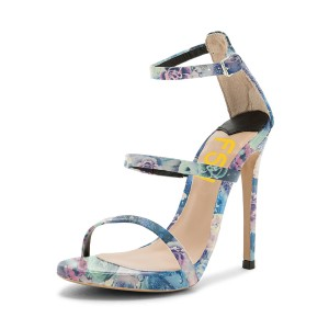 Blue Floral Heels Open Toe Ankle Strap Sandals