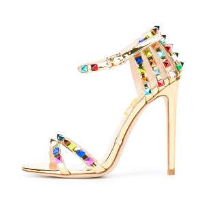 Gold Ankle Strap Sandals Stiletto Heels with Colorful Rivets
