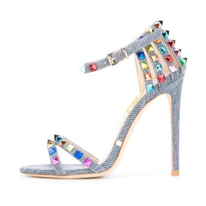 Denim Studs Shoes Stiletto Heel Ankle Strap Jean Heels