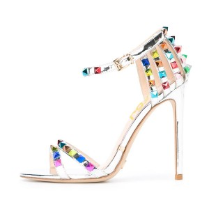 Silver Studs Shoes Ankle Strap Mirror Leather Stiletto Heel Sandals