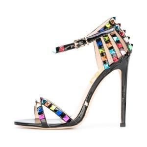 Black Studs Shoes Patent Leather Ankle Strap Stiletto Heel Sandals