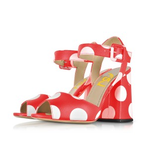 Polka Dots Block Heel Sandals Red Peep Toe Chunky Heels