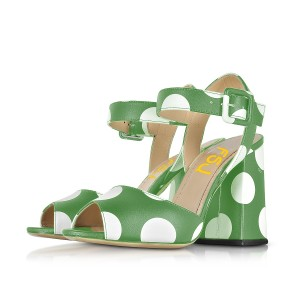Green and White Block Heel Sandals Polka Dots Slingback Sandals