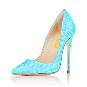 Women's Cyan Stiletto Heels Fibrous Commuting Office Heels Pumps