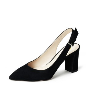 Women's Black Suede Slingback Shoes Chunky Heels Commuting Pumps