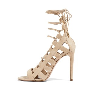 Women's Nude Strappy Open Toe Stieletto Heel Gladiator Sandals