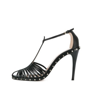 Women's Black Open Toe T-Strap Rivets Pencil Heel Sandals