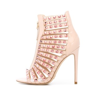 Women's Pink Open Toe T-Strap Rivets Pencil Heel Sandals