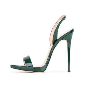 On Sale Green Patent Leather Slingback Heels Stiletto Office Sandals