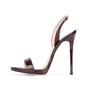 Chocolate Slingback Heels Patent Leather Stiletto Heel Office Sandals
