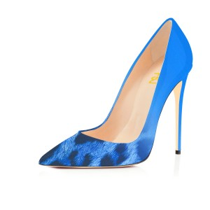 Women's Fashion Blue Pointed Toe Leopard Print Stiletto Pencil Heel Pumps 4 Inch Heels