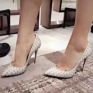 White Studs Shoes Pointy Toe Spike Stiletto Heel Pumps US Size 3-15