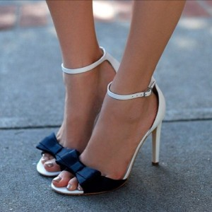 White and Black Bow Ankle Strap Sandals