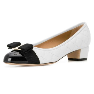 White and Black Bow Chunky Heel Pumps Office Heels