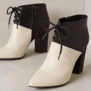 White and Black Chunky heel Boots Lace up Ankle Booties for Women