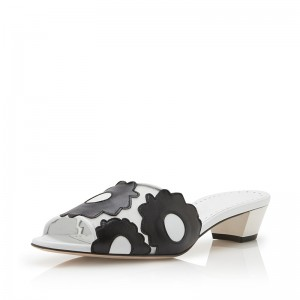 White and black Flower Low Heel Mule
