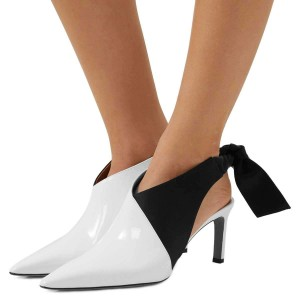 White and Black Chukny Heels Pointy Toe Bow Slingback Pumps