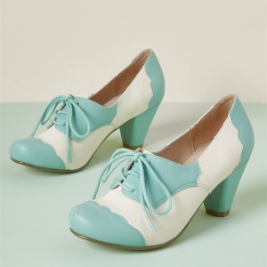 White and Blue Lace-up Heels Cone Heels Vintage Shoes