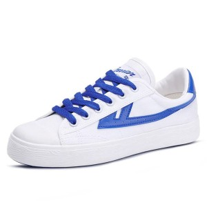 White and Blue Lace up Hui Li Sneaker for Women