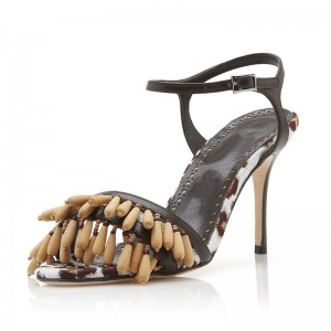 White and Brown Wooden Beads Slingback Heels Sandals