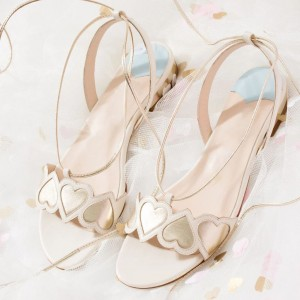 White and Champagne Slingback Strappy Sandals Flat Sandals